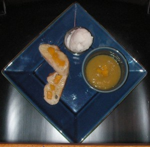 Appetizer - Battle Stone Fruit - Peach Yogurt soup with Crostini and Sorbet