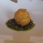 Breaded soft boiled egg truffled lentil